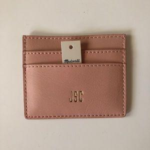 madewell leather card case tinted blush (MONOGRAM)